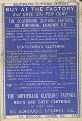 Advertisement for the Southwark Clothing Factory
